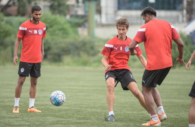 Bengaluru FC midfielder Alvaro Rubio in training at the Bangalore Football Stadium, in Bengaluru, on Tuesday.