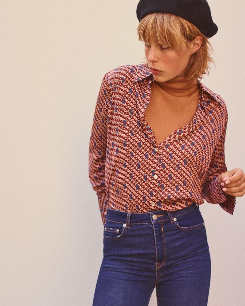 Zara Printed Logo Top, Soft Feel Sweater, Premium Skinny Flare Blue Jeans and Velvet Beret
