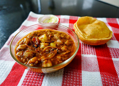 Punjabi chole, chole puri, chana masala, chickpeas vegetable, chole poori