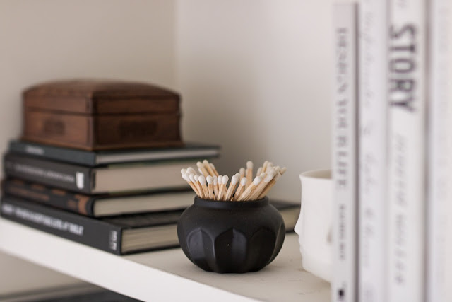 Erica Cook Home Office Update Shelf Matches Books Candle