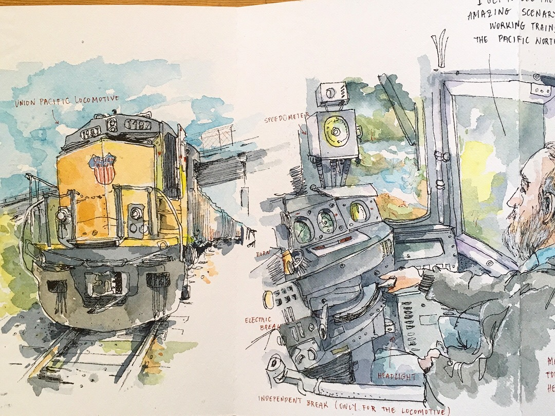 Portland Sketcher: The Freight Train Engineer For The Union Pacific