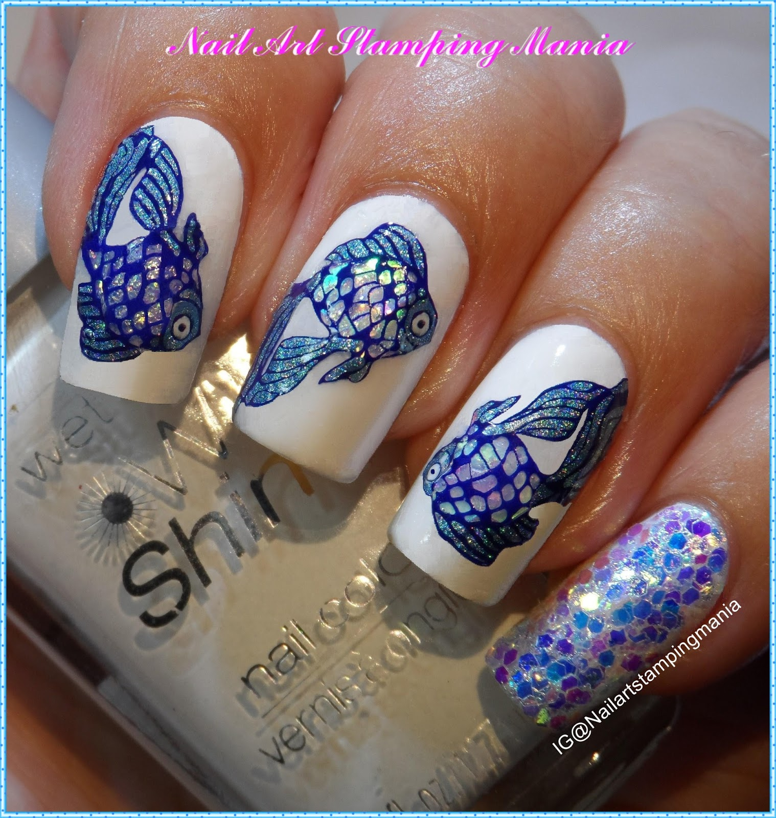 Nail Art Stamping Mania: Stamping Decals with Glitters and Holo ...