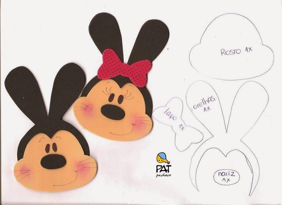 Coelhos Minnie E Mickey Eva Moldesdeeva Molde Artesanato