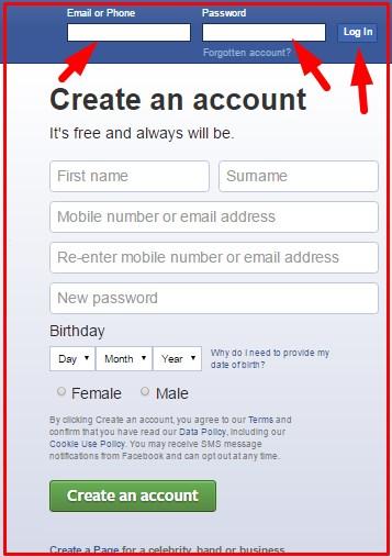 facebook login sign up