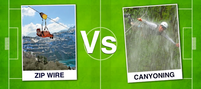 Zip Wire football card against Canyoning Football Card