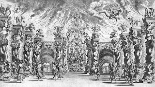 An illustration of the stage set, meant to represent the  underworld, for a production of Il pomo d'oro in Vienna