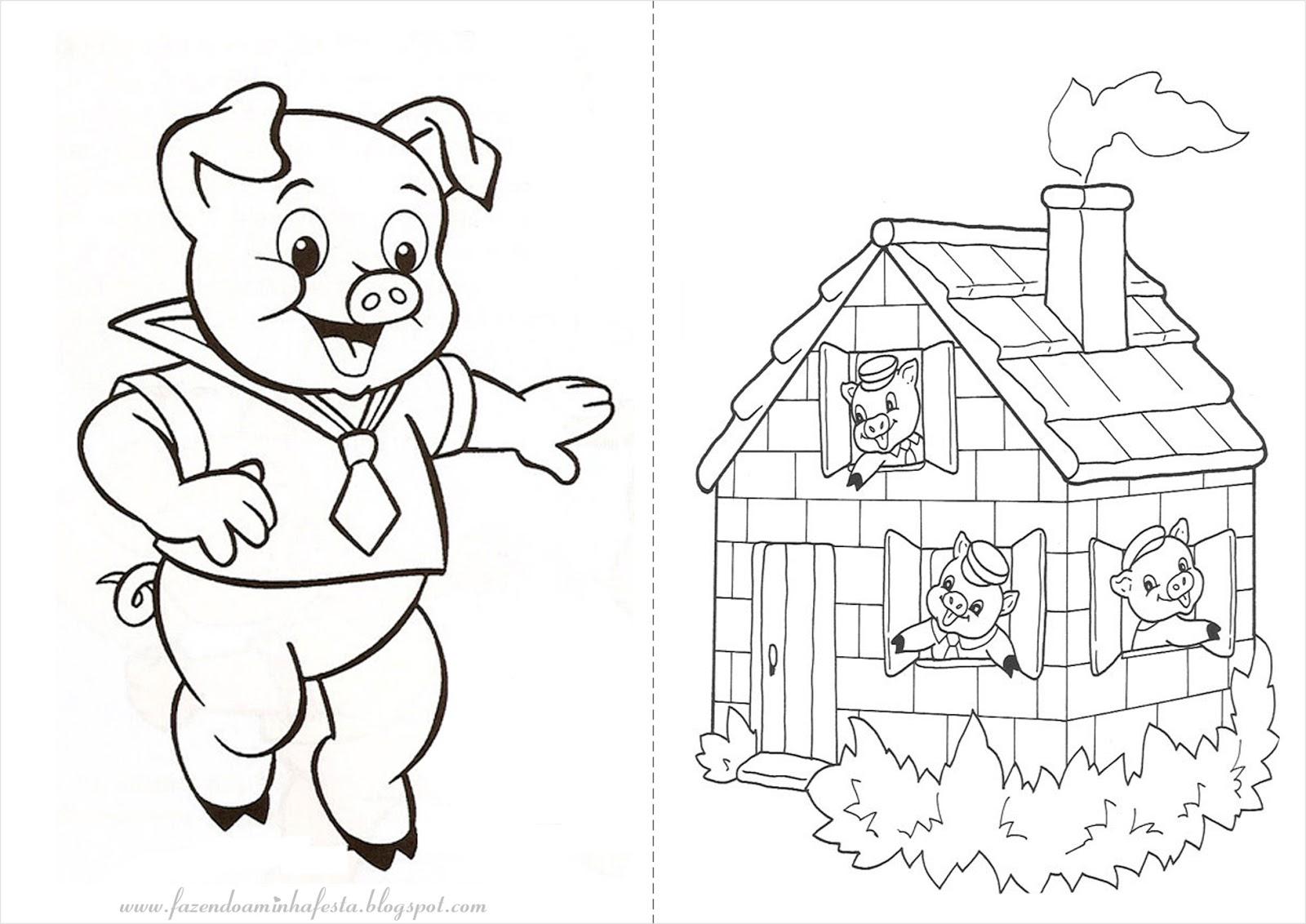 Desenhos Para Colorir Dos Tres Porquinhos E O Lobo Mau