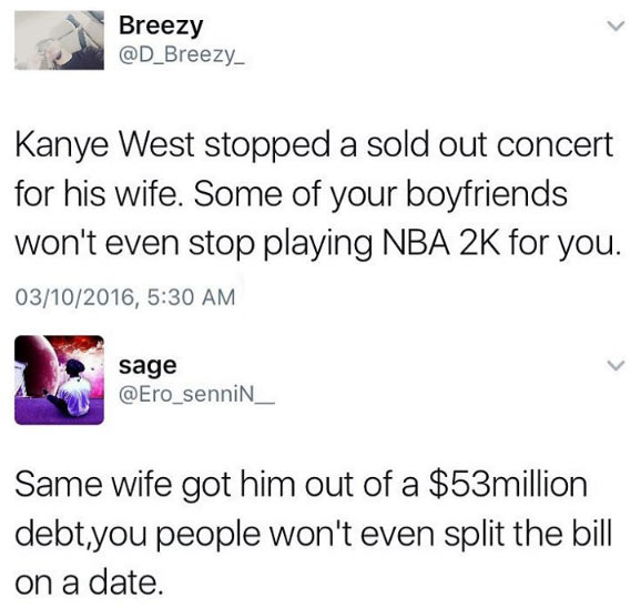 Girl claps back on boy over Kanye West /Kim K robbery