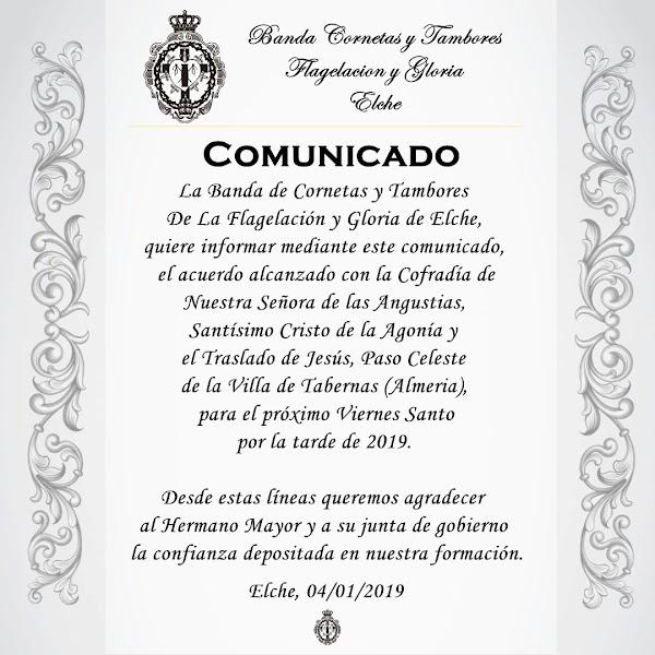 La Banda Flagelación y Gloria de Elche  tocará el próximo Viernes Santo en el Paso Celeste de Tabernas