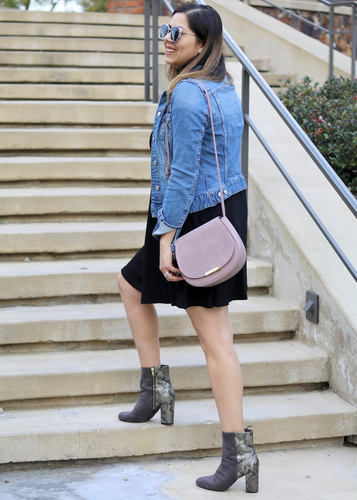 Turleneck LBD with Jean Jacket, comfy turtleneck dresses, mauve crossbod purse