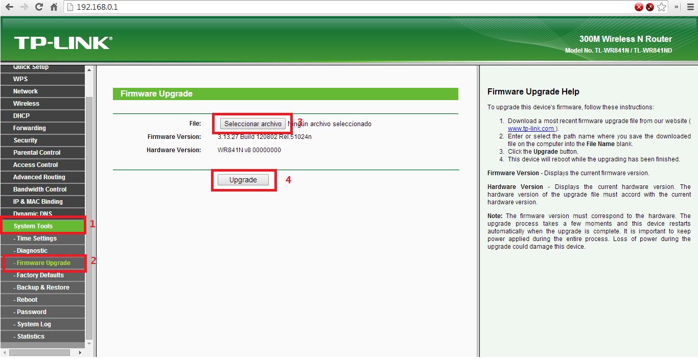 Página de administración del router TP-LINK TL-WR841N