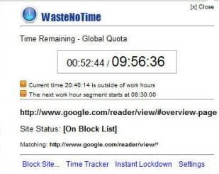 Interface do WasteNoTime