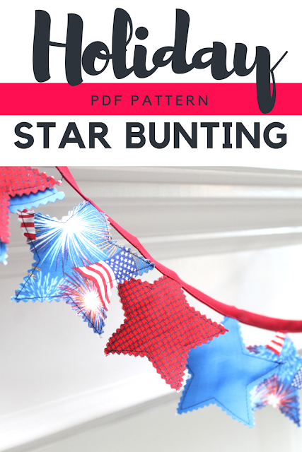 Create your own fun mantel decorations with this free star bunting pdf pattern.  Perfect for Christmas and 4th of July decorating