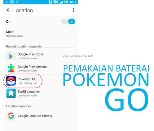 Pemakaian Baterai Pokemon Go
