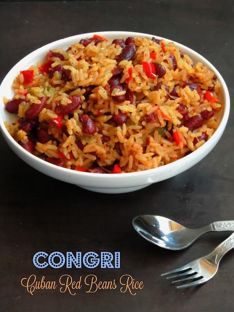 Vegetarian Cuban Red Beans Rice, Arroz Congri