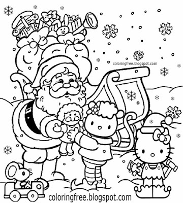 Free drawing activity cute Hello Kitty Christmas printable pretty girls coloring sheets for children