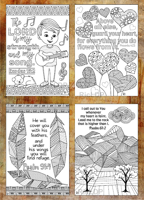 coloring bible cards