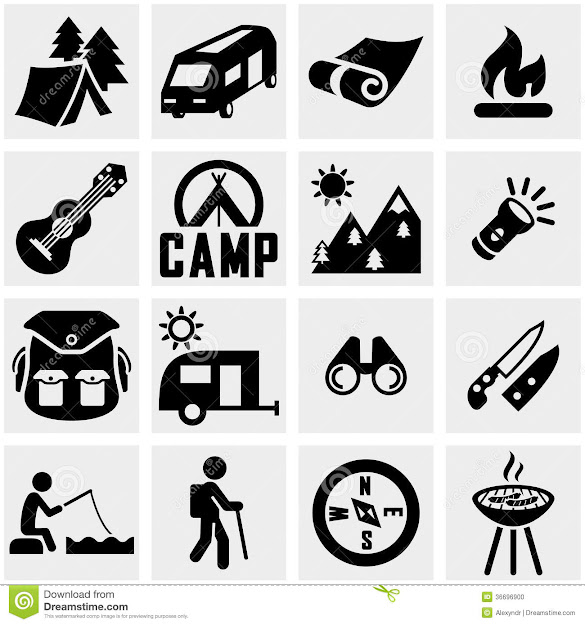 Camping Vector Icon Set On Gray