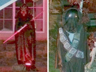 Halloween lawn decorations - kids dressed up as Darth Maul and Jawa