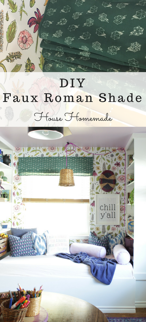 These faux roman shades are so easy and are a great way to bring color into any room.
