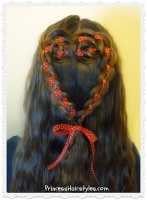 Valentine's Day hairstyle. 4 strand rosette heart hair tutorial.