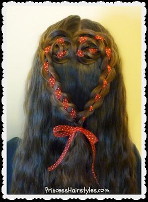 Valentine's Day hairstyle. 4 strand rosette heart hair tutorial.