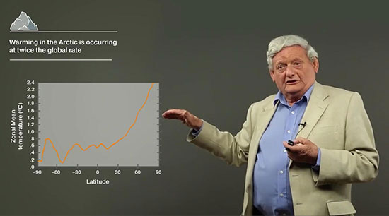 Professor Terry Callaghan explains measured Arctic warming at twice global rate (Source: www.coursera.org)
