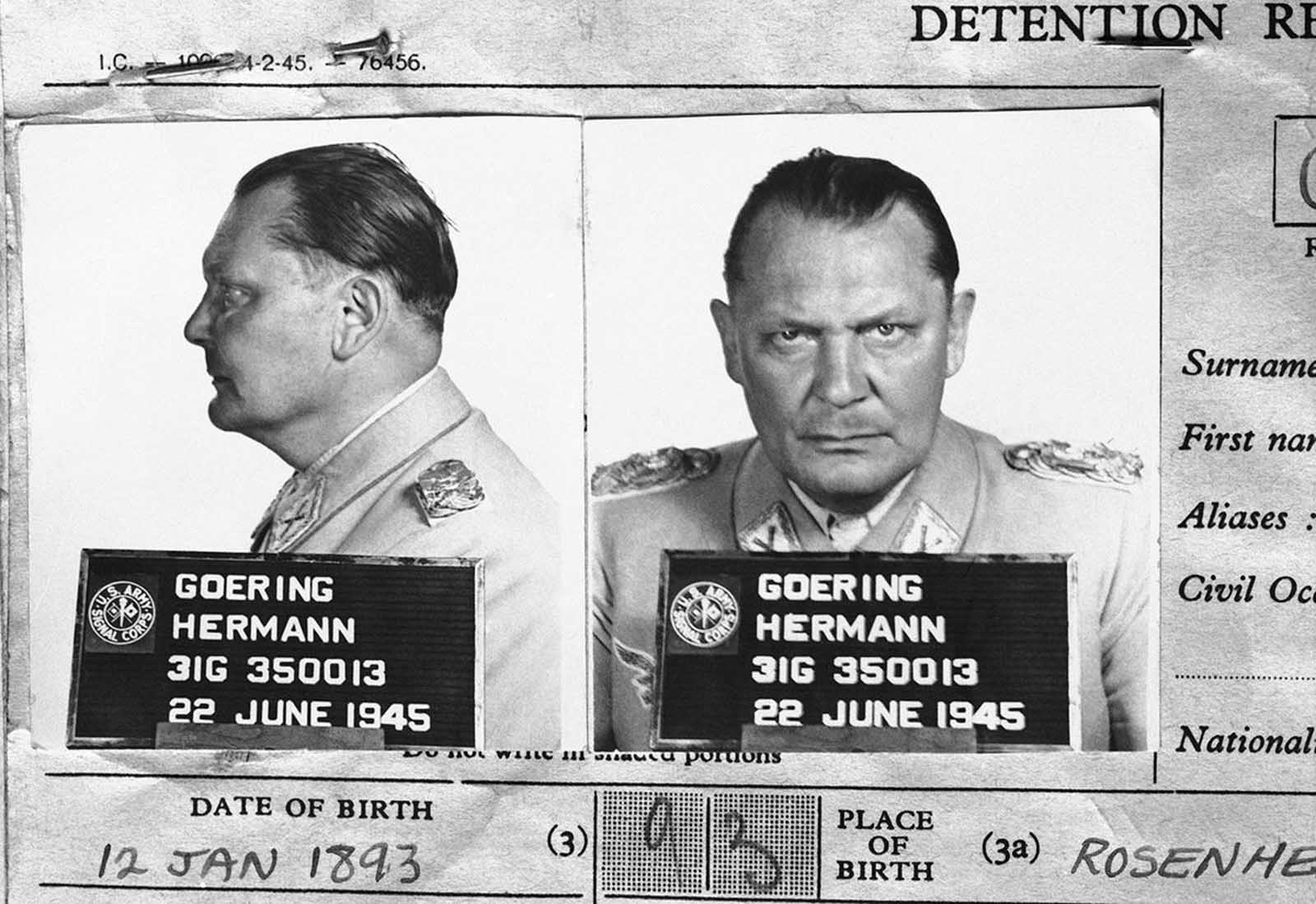 Hermann Goering, once the leader of the formidable Luftwaffe and second in command of the German Reich under Hitler, appears in a mugshot on file with the Central Registry of War Criminals and Security Suspects in Paris, France, on November 5, 1945. Goering surrendered to U.S. soldiers in Bavaria, on May 9, 1945, and was eventually taken to Nuremburg to face trial for War Crimes.