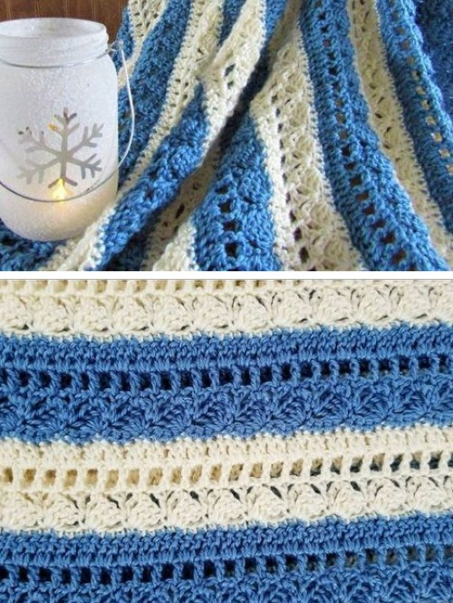 Beautiful Skills Crochet Knitting Quilting Denim Ivory Lapghan