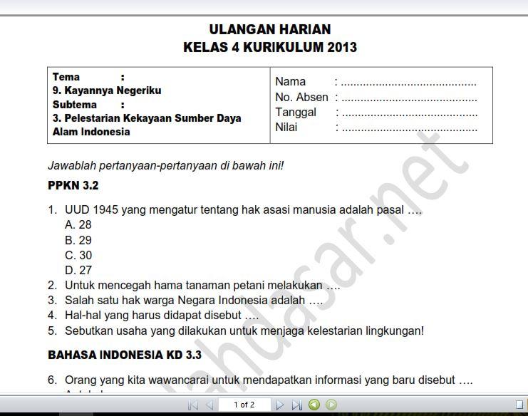 Soal Ulangan Harian Kelas 4 Tema 9 Subtema 3 Sekolahdasar Net