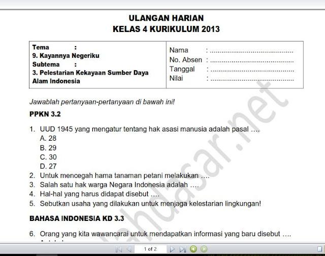 Soal Ulangan Harian Kelas 4 Tema 9 Subtema 3