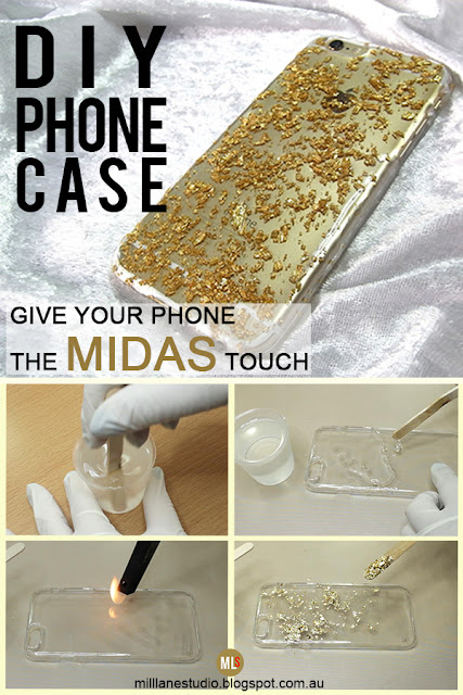 Personalise your phone case with this easy DIY tutorial using resin and gold leaf flakes.