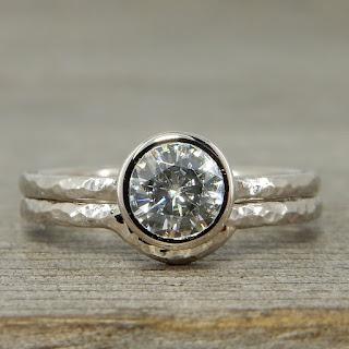 moissanite palladium stackable wedding rings