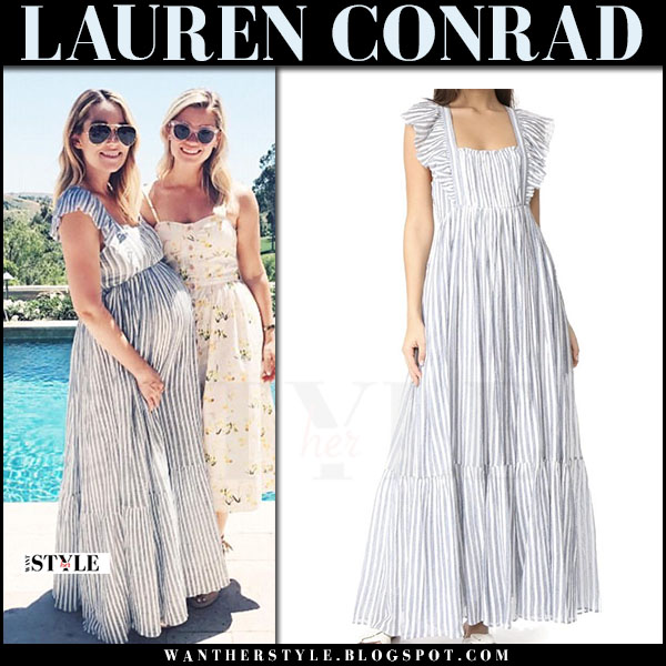 Lauren Conrad in blue striped maxi dress ulla johnson ariane baby shower may 20 2017 what she wore