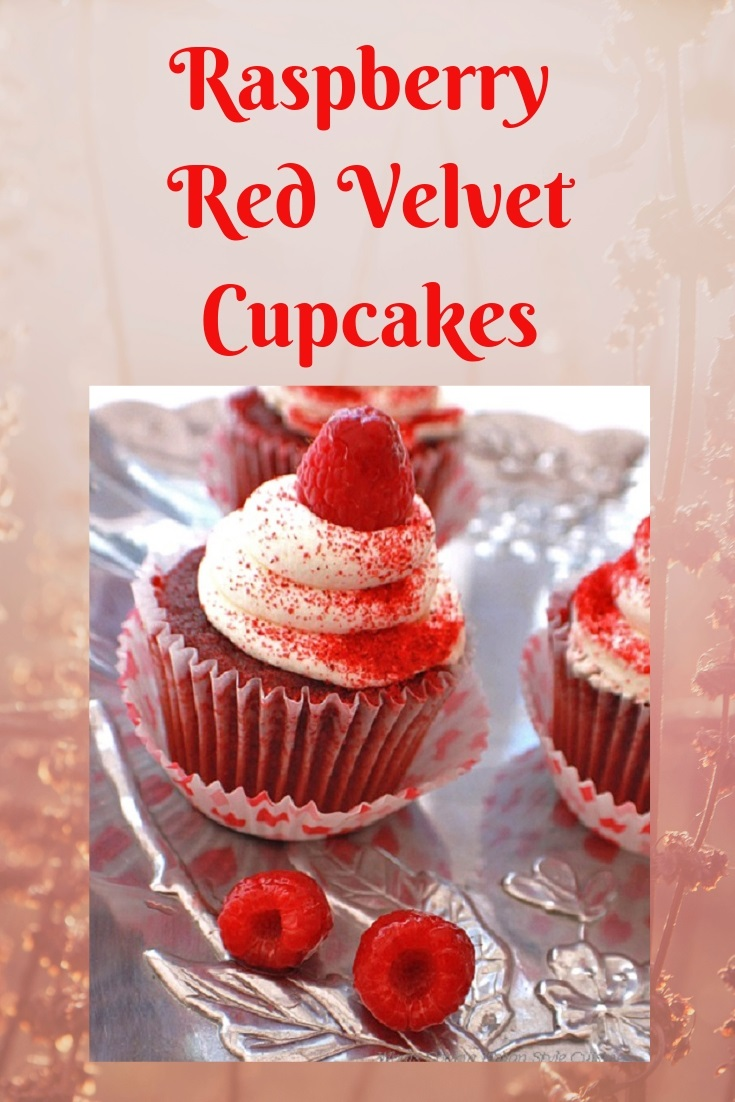 this is a cupcake with red raspberry red velvet flavors