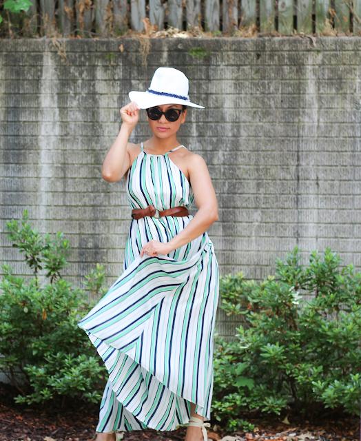 striped pleat maxi dress