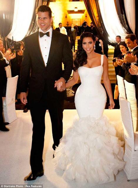 Vestido noiva estilo sereia das famosas, Kim Kardashian casamento Kris
