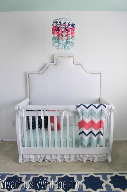 DIY upholstered crib headboard with nailhead trim