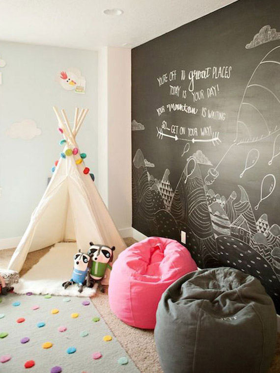 chalk painted walls, indian tipi