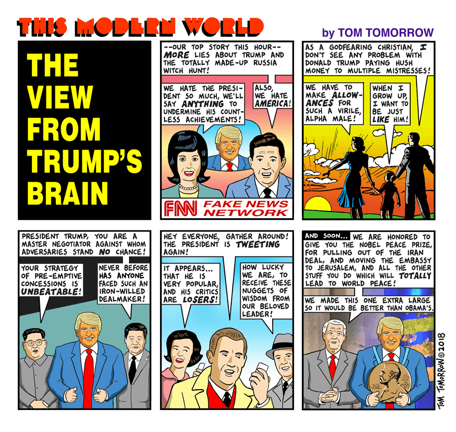 Hackwhackers: Today's Tomorrow Cartoon -- The View From Trump's Brain