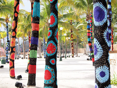 Carol Hummel - Yarn Bombed Palm Trees at Phish Riviera Maya 2017