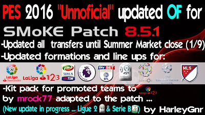 PES 2016 Update 5 OF For Smoke Patch 8.5.1 by HarleyGnr