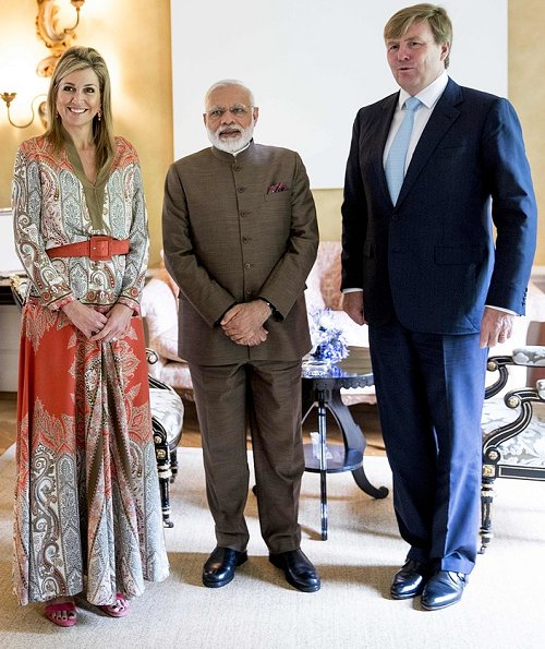 Queen Maxima met with Indian Prime Minister Narendra Modi. Queen Maxima wore Etro multicolor paisley Printed Skirt and Blouse