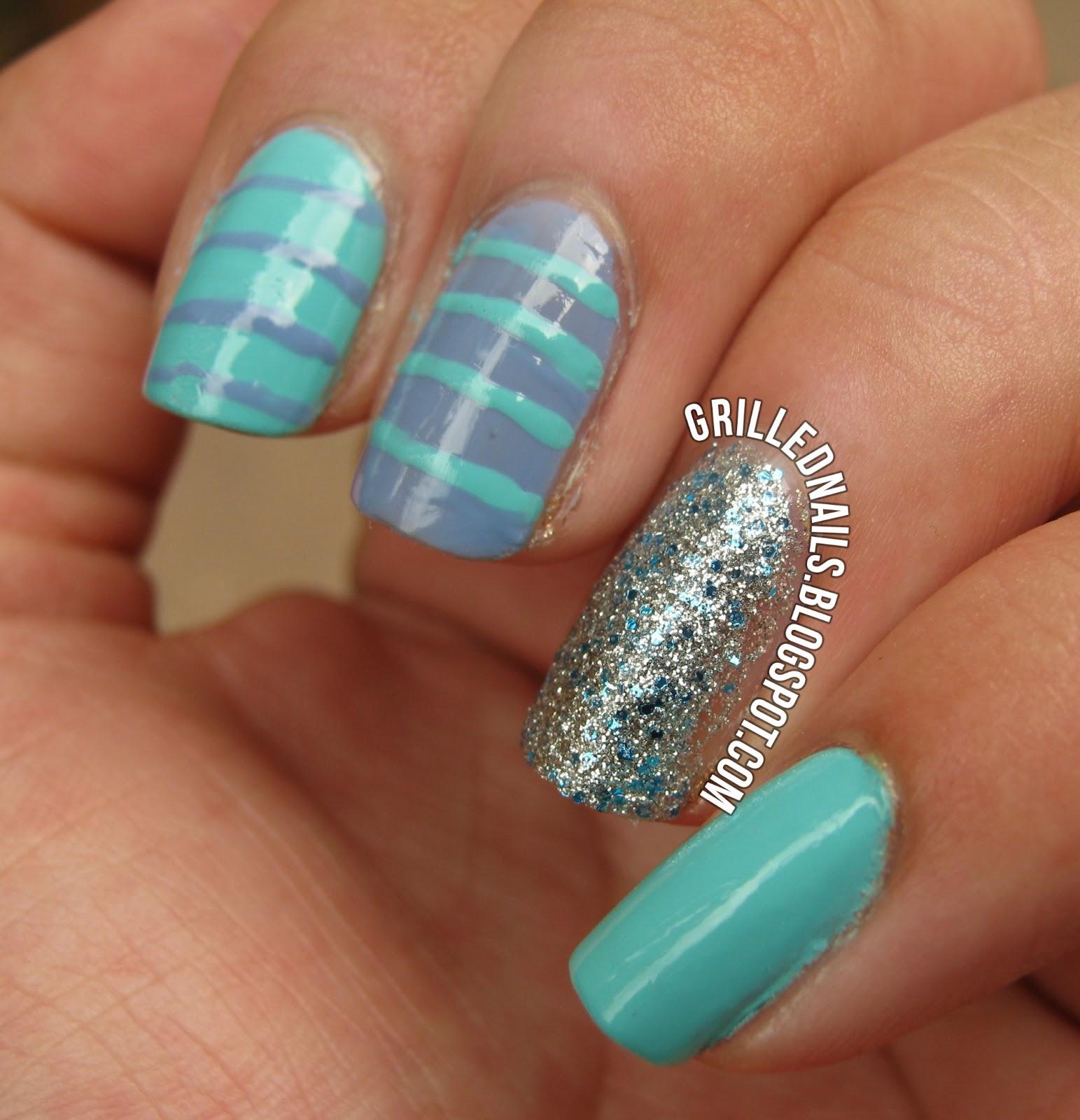 Cute Blue & Purple Summer Nails