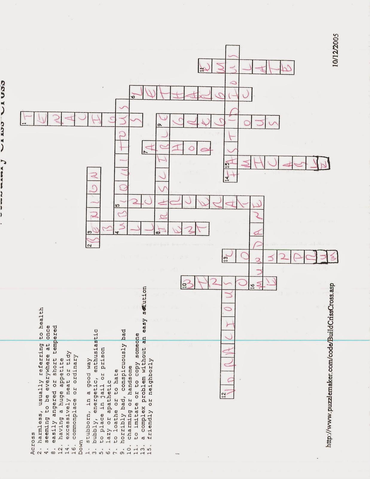 English I 10 8 14 Week 5 Vocab Practice Quiz Answer Key