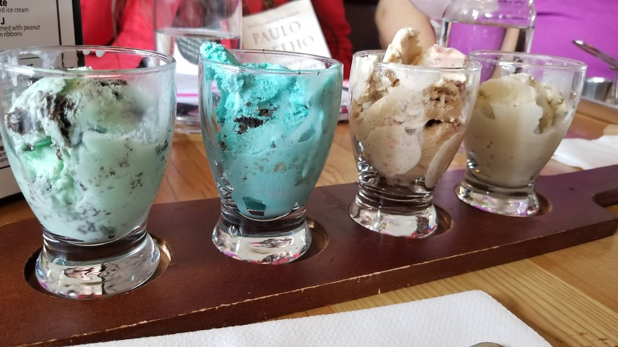 Ice cream flight at Browndog Barlor, Farmington, MI