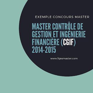 Master Contrôle de Gestion et Ingénierie Financière 2014-2015 - Fsjes Mohammedia