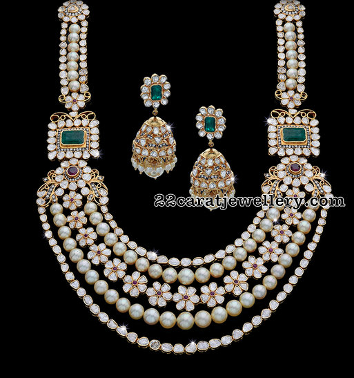 Polki Diamond Set with Pearls 200 Grams
