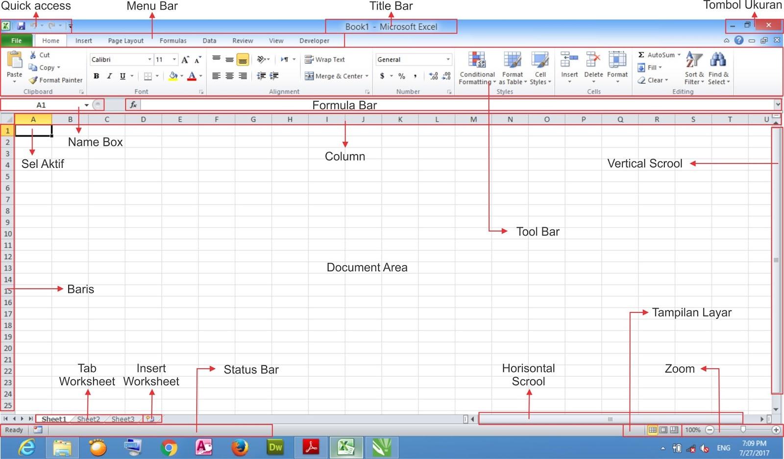 Pengenalan Interface Tampilan Microsoft Excel