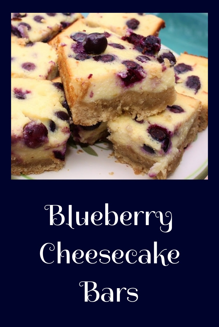 these are a blueberry cheesecake bar. The blueberry bar is a square baked into a rectangular pan with a crust made with oatmeal. The batter is easy and pour over the crust and blueberries are on top of the filling and baked throughout the cheesecake. An easy cheesecake baked with blueberries.